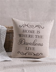 gifts: Personalised Home Is Where Scatter Cushion!