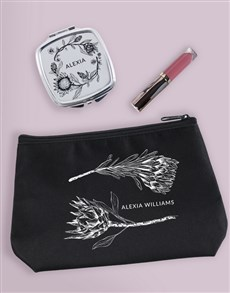 gifts: Personalised Sketched Protea Cosmetic Bag!