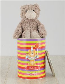 gifts: Personalised Striped Happy Birthday Teddy Tin!
