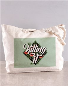 gifts: Personalised Killing It Floral Beach Bag!