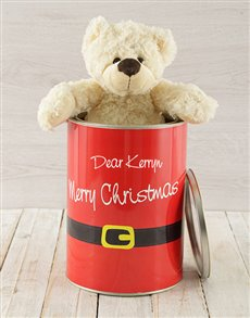 gifts: Personalised Christmas Suit Teddy Tin!