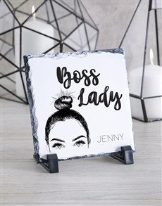 gifts: Personalised Boss Lady Glass And Stone Tiles!