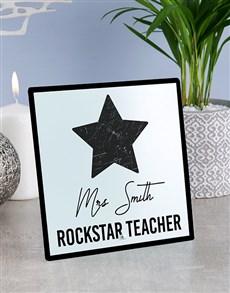 gifts: Personalised Rockstar Teacher Glass Tile!
