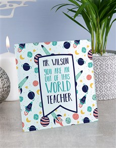 gifts: Personalised World Teacher Glass Tile!
