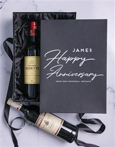 gifts: Anniversary Personalised Wine Duo Giftbox!