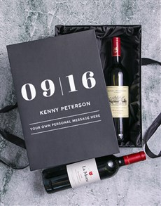 gifts: Date Personalised Wine Duo Giftbox!