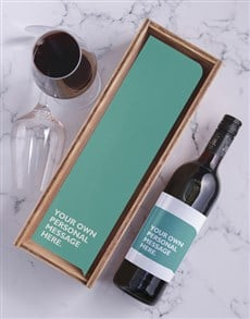 gifts: Turquoise Personalised Wine and Crate!
