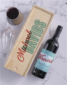 gifts: Thank You Personalised Wine and Crate!