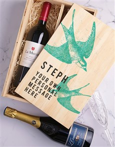 gifts: Personalised Swallow Printed Wine Duo Crate!
