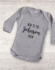 gifts: Personalised New To The Crew Onesie!