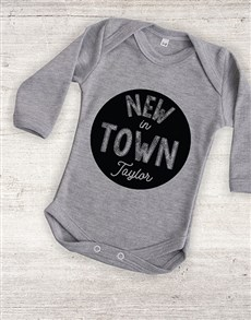 gifts: Personalised New In Town Onesie!