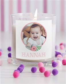 gifts: Personalised Baby Girl Photo Candle in Gift Box!