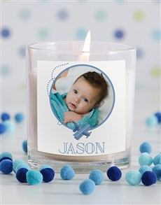 gifts: Personalised Baby Boy Photo Candle in Gift Box!