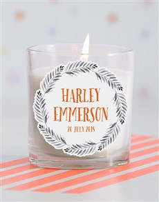 gifts: Personalised Name in Fronds Baby Candle!