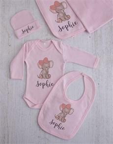 gifts: Personalised Elephant Girl Clothing Gift Set!