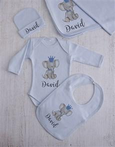 gifts: Personalised Blue Elephant Clothing Gift Set!