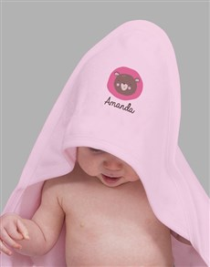 gifts: Personalised Little Bear Pink Hooded Baby Towel!
