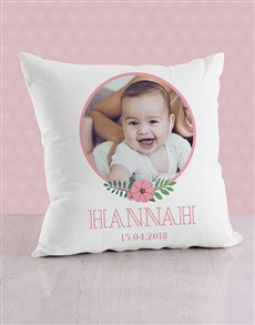 gifts: Personalised Floral Portrait Baby Scatter Cushion!
