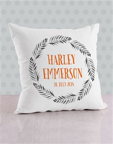 gifts: Personalised Name in Fronds Baby Scatter Cushion!