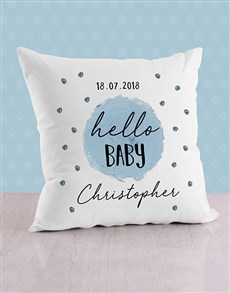 gifts: Personalised Blue Dots Baby Scatter Cushion!