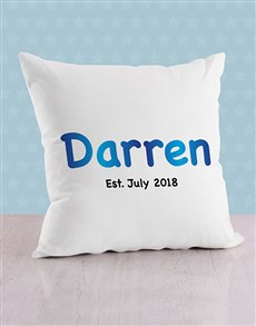 gifts: Personalised Blue Baby Name and Date Cushion!