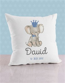 gifts: Personalised Blue Elephant Baby Scatter Cushion!