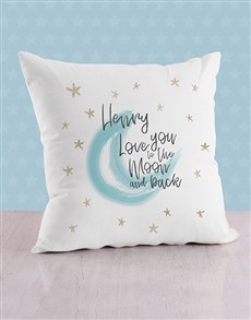 gifts: Personalised Moon and Back Baby Scatter Cushion!