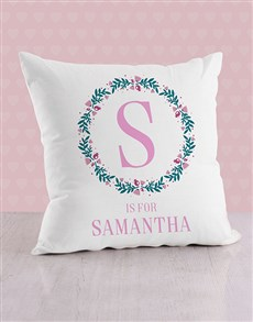 gifts: Personalised Initial in Flora Baby Scatter Cushion!