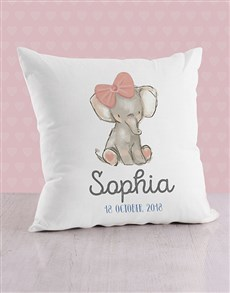 gifts: Personalised Pink Elephant Baby Scatter Cushion!