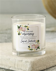 gifts: Personalised Floral In Loving Memory Candle!