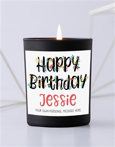 gifts: Personalised Floral Birthday Black Candle!