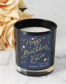 gifts: Personalised Rose Happy Birthday Black Candle!