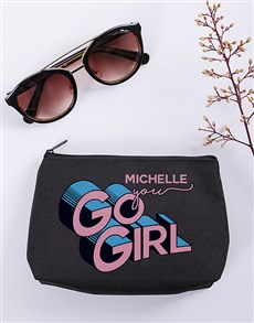 gifts: Personalised You Go Girl Cosmetic Bag!