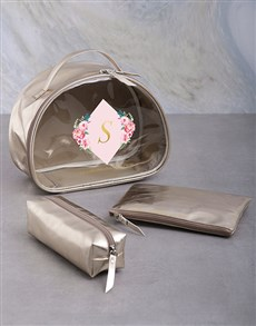 gifts: Personalised Floral Initial 3 Piece Vanity Set!