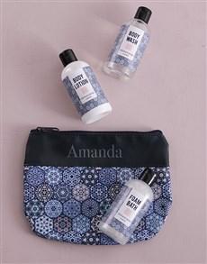 gifts: Personalised Blue Marakesh Travel Set!