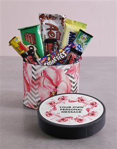 gifts: Personalised Flamingo Hat Box with Treats!