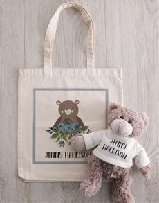 gifts: Teddy in Personalised Bear Tote!