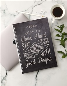 gifts: Personalised Work Hard Notebook!
