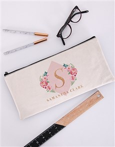 gifts: Personalised Floral Initial Pencil Bag!