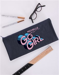 gifts: Personalised You Go Girl Pencil Bag!