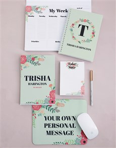 gifts: Personalised Floral Wreath Take Note Set!