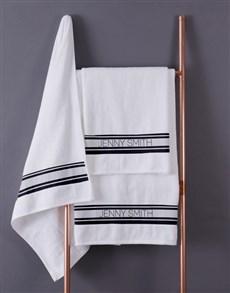 gifts: Personalised Modern Name White Towel set!