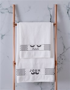 gifts: Personalised Stache and Lash White Towel Set!
