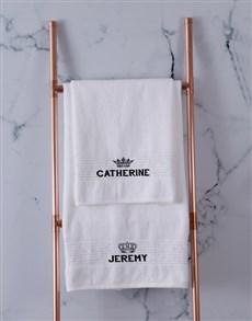 gifts: Personalised Royal White Towel Set!