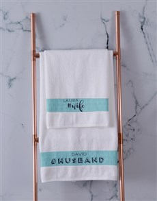 gifts: Personalised Husband and Wife White Towel Set!