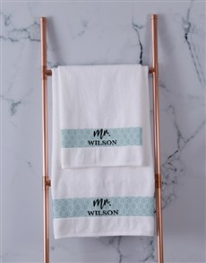 gifts: Personalised Mr and Mrs Towel Set!