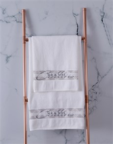 gifts: Personalised Mr and Mrs Bath Towel Set!