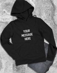 gifts: Personalised Message Black Hoodie!