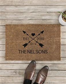 gifts: Personalised Love Arrows Date and Surname Doormat!