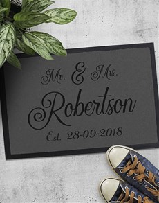 gifts: Personalised Mr And Mrs Date Doormat!